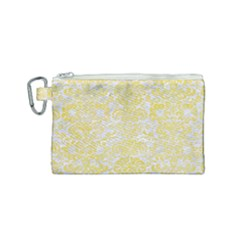 Damask2 White Marble & Yellow Watercolor (r) Canvas Cosmetic Bag (small) by trendistuff