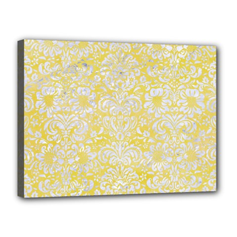 Damask2 White Marble & Yellow Watercolor Canvas 16  X 12  by trendistuff
