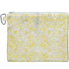 Damask2 White Marble & Yellow Watercolor Canvas Cosmetic Bag (xxxl) by trendistuff