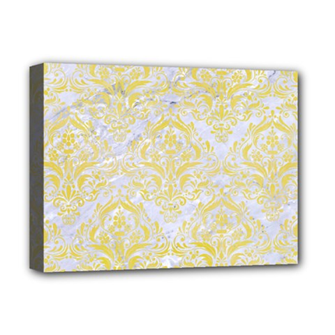 Damask1 White Marble & Yellow Watercolor (r) Deluxe Canvas 16  X 12   by trendistuff