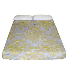 Damask1 White Marble & Yellow Watercolor (r) Fitted Sheet (california King Size) by trendistuff