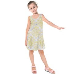Damask1 White Marble & Yellow Watercolor (r) Kids  Sleeveless Dress