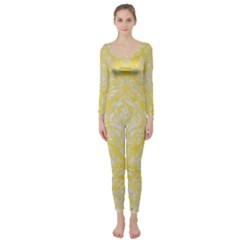 Damask1 White Marble & Yellow Watercolor Long Sleeve Catsuit by trendistuff