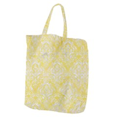 Damask1 White Marble & Yellow Watercolor Giant Grocery Zipper Tote by trendistuff