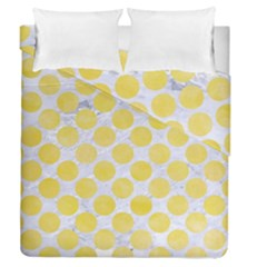 Circles2 White Marble & Yellow Watercolor (r) Duvet Cover Double Side (queen Size) by trendistuff
