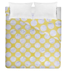 Circles2 White Marble & Yellow Watercolor Duvet Cover Double Side (queen Size) by trendistuff