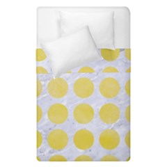 Circles1 White Marble & Yellow Watercolor (r) Duvet Cover Double Side (single Size)