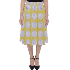 Circles1 White Marble & Yellow Watercolor Folding Skater Skirt