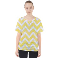 Chevron9 White Marble & Yellow Watercolor V Neck Dolman Drape Top
