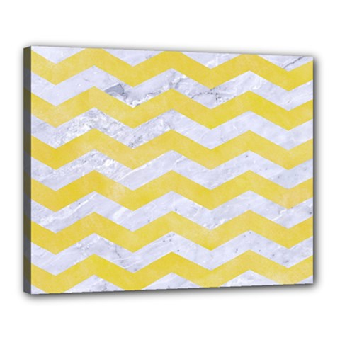 Chevron3 White Marble & Yellow Watercolor Canvas 20  X 16  by trendistuff