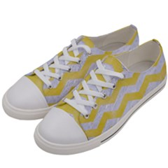 Chevron3 White Marble & Yellow Watercolor Women s Low Top Canvas Sneakers by trendistuff