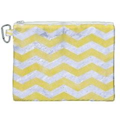 Chevron3 White Marble & Yellow Watercolor Canvas Cosmetic Bag (xxl) by trendistuff