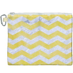 Chevron3 White Marble & Yellow Watercolor Canvas Cosmetic Bag (xxxl) by trendistuff