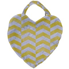 Chevron2 White Marble & Yellow Watercolor Giant Heart Shaped Tote
