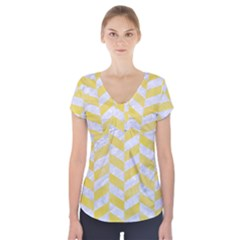 Chevron1 White Marble & Yellow Watercolor Short Sleeve Front Detail Top by trendistuff