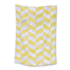 Chevron1 White Marble & Yellow Watercolor Small Tapestry