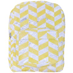 Chevron1 White Marble & Yellow Watercolor Full Print Backpack