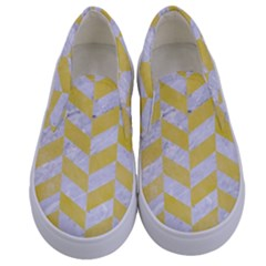 Chevron1 White Marble & Yellow Watercolor Kids  Canvas Slip Ons