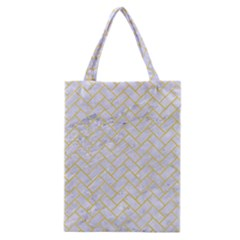 Brick2 White Marble & Yellow Watercolor (r) Classic Tote Bag by trendistuff