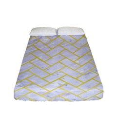 Brick2 White Marble & Yellow Watercolor (r) Fitted Sheet (full/ Double Size) by trendistuff
