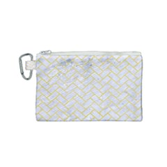 Brick2 White Marble & Yellow Watercolor (r) Canvas Cosmetic Bag (small) by trendistuff
