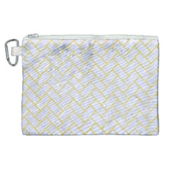 Brick2 White Marble & Yellow Watercolor (r) Canvas Cosmetic Bag (xl) by trendistuff