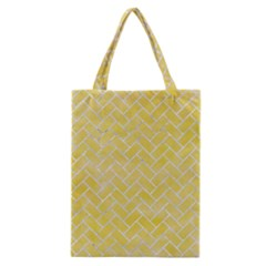 Brick2 White Marble & Yellow Watercolor Classic Tote Bag by trendistuff