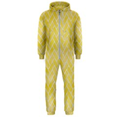 Brick2 White Marble & Yellow Watercolor Hooded Jumpsuit (men)  by trendistuff