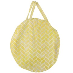 Brick2 White Marble & Yellow Watercolor Giant Round Zipper Tote