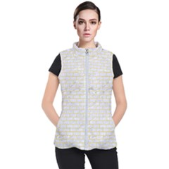 Brick1 White Marble & Yellow Watercolor (r) Women s Puffer Vest