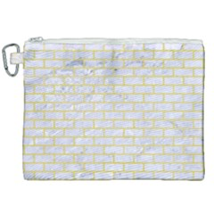 Brick1 White Marble & Yellow Watercolor (r) Canvas Cosmetic Bag (xxl) by trendistuff