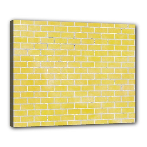 Brick1 White Marble & Yellow Watercolor Canvas 20  X 16  by trendistuff