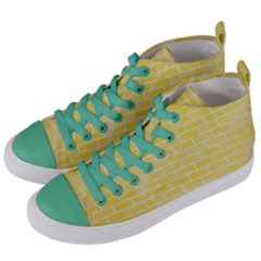Brick1 White Marble & Yellow Watercolor Women s Mid Top Canvas Sneakers by trendistuff