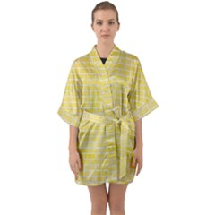 Brick1 White Marble & Yellow Watercolor Quarter Sleeve Kimono Robe by trendistuff