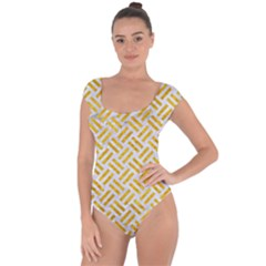 Woven2 White Marble & Yellow Marble (r) Short Sleeve Leotard  by trendistuff