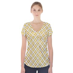 Woven2 White Marble & Yellow Marble (r) Short Sleeve Front Detail Top