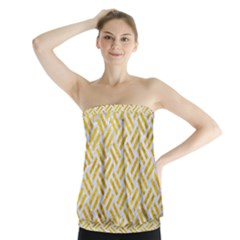 Woven2 White Marble & Yellow Marble (r) Strapless Top by trendistuff