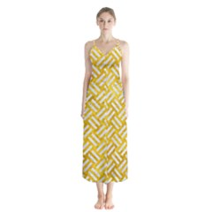 Woven2 White Marble & Yellow Marble Button Up Chiffon Maxi Dress