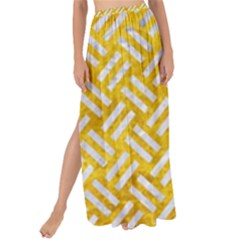 Woven2 White Marble & Yellow Marble Maxi Chiffon Tie Up Sarong by trendistuff