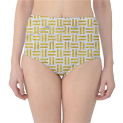 Woven1 White Marble & Yellow Marble (r) High Waist Bikini Bottoms by trendistuff