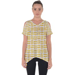 Woven1 White Marble & Yellow Marble (r) Cut Out Side Drop Tee by trendistuff