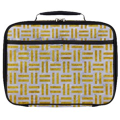 Woven1 White Marble & Yellow Marble (r) Full Print Lunch Bag by trendistuff