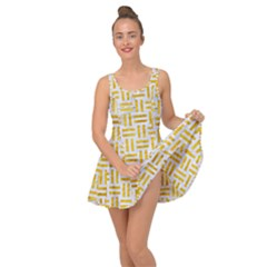 Woven1 White Marble & Yellow Marble (r) Inside Out Dress