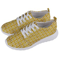 Woven1 White Marble & Yellow Marble Men s Lightweight Sports Shoes by trendistuff