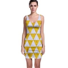 Triangle3 White Marble & Yellow Marble Bodycon Dress