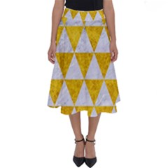 Triangle3 White Marble & Yellow Marble Perfect Length Midi Skirt