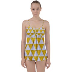 Triangle3 White Marble & Yellow Marble Babydoll Tankini Set