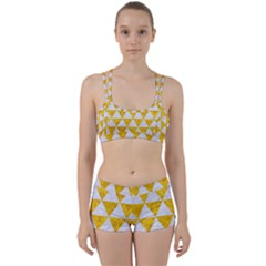 Triangle3 White Marble & Yellow Marble Women s Sports Set by trendistuff