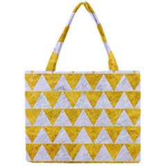Triangle2 White Marble & Yellow Marble Mini Tote Bag by trendistuff