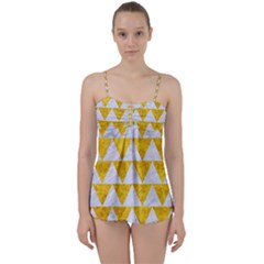 Triangle2 White Marble & Yellow Marble Babydoll Tankini Set